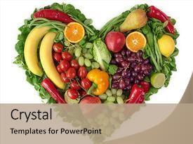Audience pleasing PPT theme consisting of heart of fruits and vegetables backdrop and a coral colored foreground.