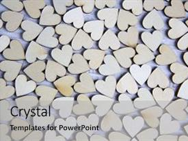 Presentation having heart shape from natural tree lovely heart shape by wooden small hearts on rustic wood table love theme concept with wooden hearts for valentine s background and love theme wooden leters i love you background and a light gray colored foreground.