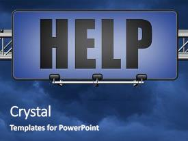 Presentation with help search find assistance and helping hand support or help desk online support help road sign billboard 3d illustration background and a ocean colored foreground.