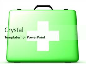 Amazing slides having first aid - herbal medical box 3d image backdrop and a soft green colored foreground