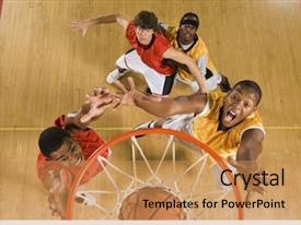 Slide deck enhanced with high angle view of basketball background and a coral colored foreground