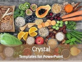 Cool new presentation theme with high dietary fibre health food backdrop and a coral colored foreground