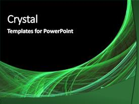 Colorful PPT theme enhanced with high tech - abstract green glowing energy textured backdrop and a black colored foreground.