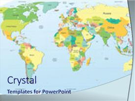 PPT theme featuring highly detailed political world map background and a sky blue colored foreground.