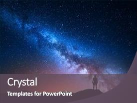 ppt theme having hill background with galaxy background and a dark gray colored foreground