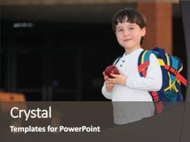 Amazing PPT theme having his way into school backdrop and a dark gray colored foreground.