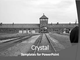 Top camps world war 2 powerpoint templates backgrounds slides and cool new ppt theme with jail hitler person standing backdrop and a gray colored maxwellsz