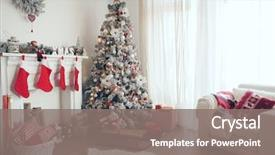 Beautiful slide set featuring holdiay decorated room with christmas backdrop and a gray colored foreground