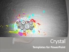 PPT layouts consisting of holding a hovering colorful brain background and a gray colored foreground.