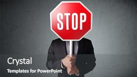 Presentation design having holding a stop sign background and a dark gray colored foreground