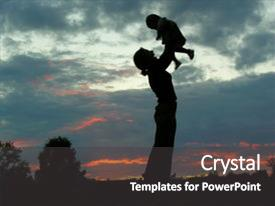 Slides with holding hands - silhouette mother background and a dark gray colored foreground.