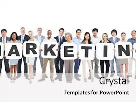 Beautiful slides featuring holding letters that form marketing backdrop and a white colored foreground