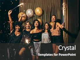 Cool new presentation theme with holding sparklers in a party backdrop and a dark gray colored foreground.