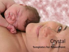 Theme consisting of holds 7 day old baby background and a coral colored foreground.