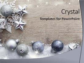 Amazing PPT theme having holiday - christmas decorations on wooden background backdrop and a light gray colored foreground
