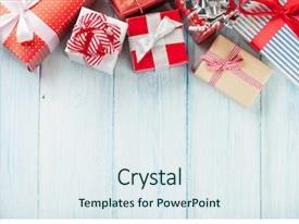 Slide deck enhanced with holiday - christmas gift boxes on wooden background and a sky blue colored foreground