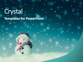 Slide deck consisting of holiday - snowman for card or background background and a ocean colored foreground
