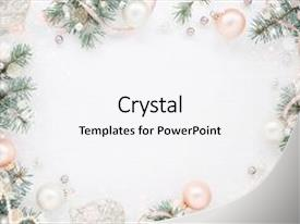 Audience pleasing PPT theme consisting of holiday frame of christmas decorations on white background with fir branch pink balls ribbon and pearls elegant new year s snowy card top view backdrop and a white colored foreground.