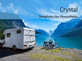 Slide deck with voyage - holiday trip in motorhome car background and a light blue colored foreground.