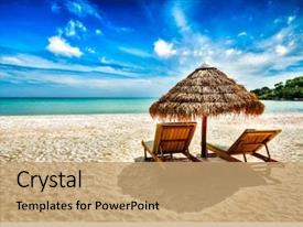 PPT theme consisting of holidays background wallpaper - two beach background and a coral colored foreground