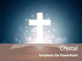 Presentation with holy bible with cross background concept for prayer and religion background and a gray colored foreground.