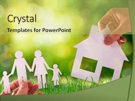Presentation theme having home and family concept with background and a yellow colored foreground.