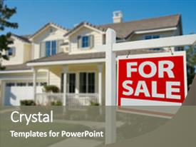 PPT theme enhanced with home for sale real estate background and a gray colored foreground.
