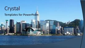 Presentation theme featuring hong kong as seen background and a light blue colored foreground.