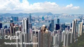 Colorful presentation theme enhanced with hong kong skyline seen from victoria peak backdrop and a gray colored foreground