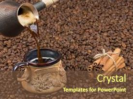 Cool new presentation theme with hot aromatic coffee is poured backdrop and a tawny brown colored foreground.