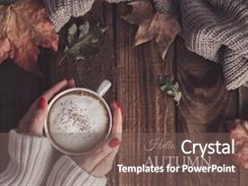 Amazing PPT theme having hot coffee cappuccino blanket backdrop and a gray colored foreground.