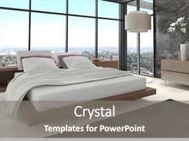 Cool new slide set with hotel - 3d rendering of modern bedroom backdrop and a gray colored foreground