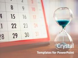 Slides featuring hourglass - hour glass and calendar concept background and a coral colored foreground.