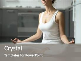 Audience pleasing presentation design consisting of house prayer - sporty attractive woman practicing yoga backdrop and a gray colored foreground.