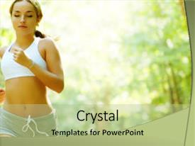 Slide deck featuring human body - pretty young girl runner background and a mint green colored foreground.