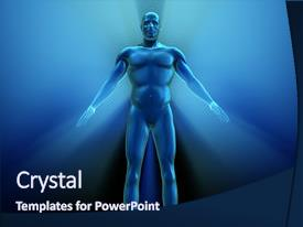 Audience pleasing presentation theme consisting of human body with metallic appearance  backdrop and a navy blue colored foreground.