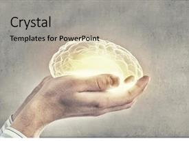 Slide deck enhanced with human hand holding brain background and a light gray colored foreground