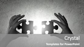 PPT theme consisting of human hands connecting puzzle background and a gray colored foreground
