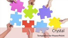 Slide deck having human hands holding jigsaw puzzle background and a coral colored foreground