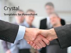 Cool new theme with human resource - shaking hands and business team backdrop and a light gray colored foreground.