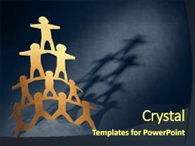 Beautiful PPT theme featuring human team pyramid holding hands backdrop and a  colored foreground.