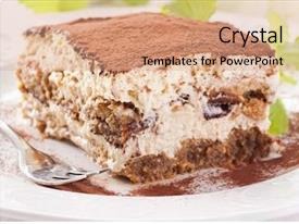 Beautiful PPT theme featuring ice cream cookie - tiramisu backdrop and a coral colored foreground