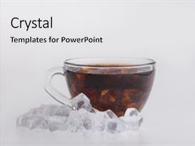 PPT theme enhanced with icetea - iced tea surrounded by ice background and a white colored foreground