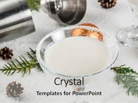 Cool new theme with white chocolate snowflake martini cocktail backdrop and a light gray colored foreground.