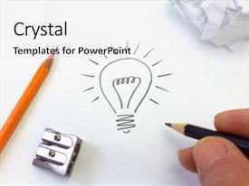 Presentation design consisting of illustration of a light bulb background and a white colored foreground.