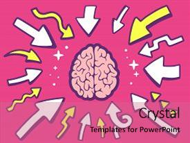 Colorful PPT theme enhanced with point to icon of brain backdrop and a coral colored foreground