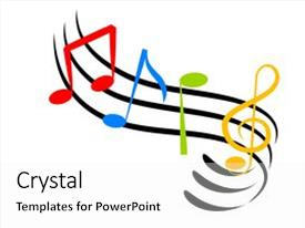 Amazing PPT theme having illustration of colorful music notes backdrop and a white colored foreground.