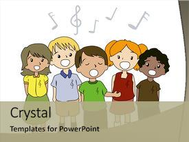Theme having illustration of kids singing background and a mint green colored foreground.