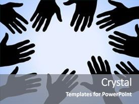 Amazing presentation theme having illustration of many hands on a blue surface backdrop and a gray colored foreground.