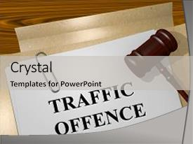Colorful presentation theme enhanced with illustration of traffic offence title backdrop and a light gray colored foreground.